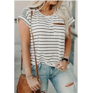 Striped Round Neck Tee With Faux Suede Pocket